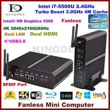 Kingdel безвентиляторный HTPC intel i7 5-й генерал процессора, 16 ГБ 512ram + ssd, Ультра-hd 4 К 2 * гигабитный LAN + 2 * микро-hdmi + SPDIF + 4 * USB 3.0 бесплатная доставка