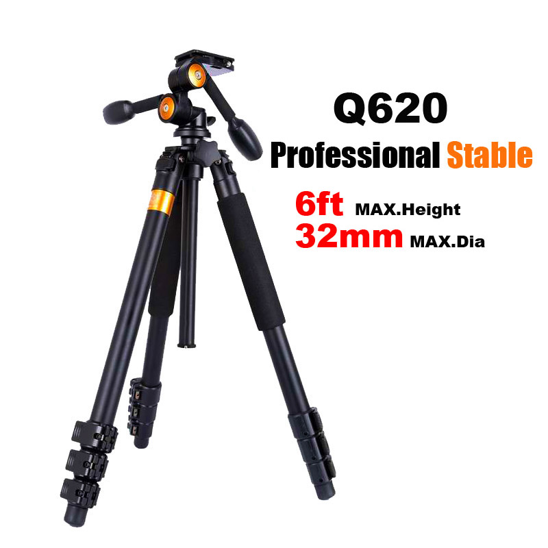QZSD Q620 Professional Video Tripod with Fluid Head Stable Heavy Camera Tripod for Canon Nikon Sony DSLR Camera Camcorder