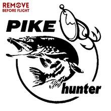 Pike Hunter Fish Animal Car Sticker 13.3*14cm Vinyl Decal Decor Fashion Car Body Wall Decoration Creative Stickers Car Styling