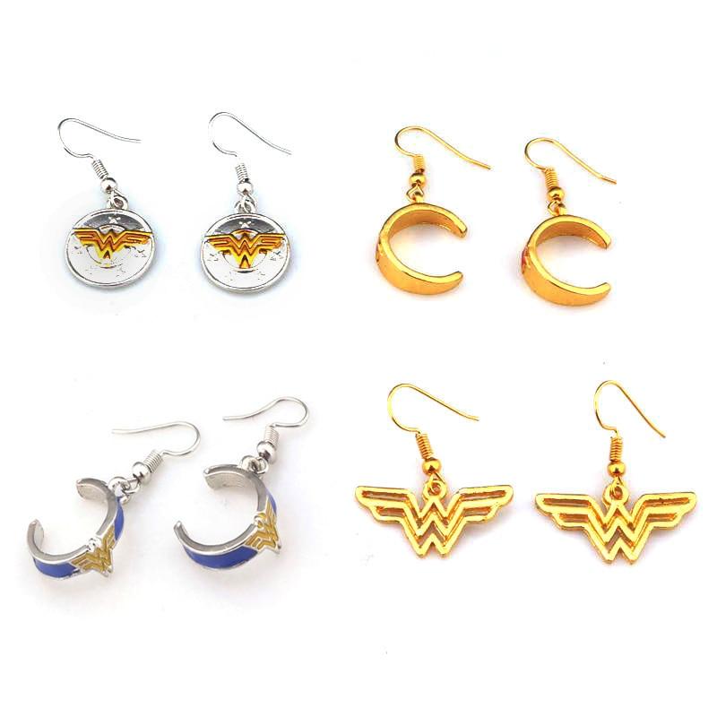 RJ New Design Movie Wonder Woman Earrings High Quality Logo Series Metal Earrings For Women Girls Gift