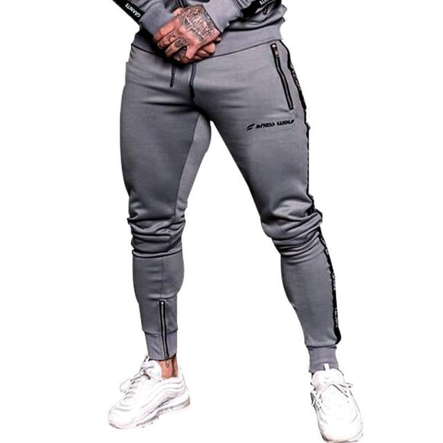 2018 Men's Jogger Pants stretch waist Men,s Fashion alphabet Bodybuilding Fitness Pants Casual Trousers Sweatpants For Man MMA Kickboxing