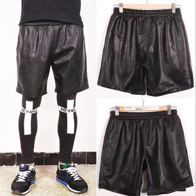 Pu cuir pantalon hommes noir élastique cuir pantalon hommes lâche mince Section Hip Hop Streetwear Ropa De Hombre 2018 hommes vêtements