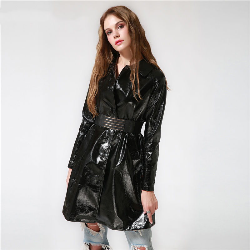 79ab39ac3de 2017 Autumn Winter Women Black Long Faux Leather Trench Coat Slim Turn down  Collar Belt Coat Adjustable Waist Female Outerwear-in Trench from Women s  ...