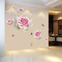 New 5D wall stickers Pink rose PVC removable waterproof DIY TV backdrop decorative painting creative wallpaper