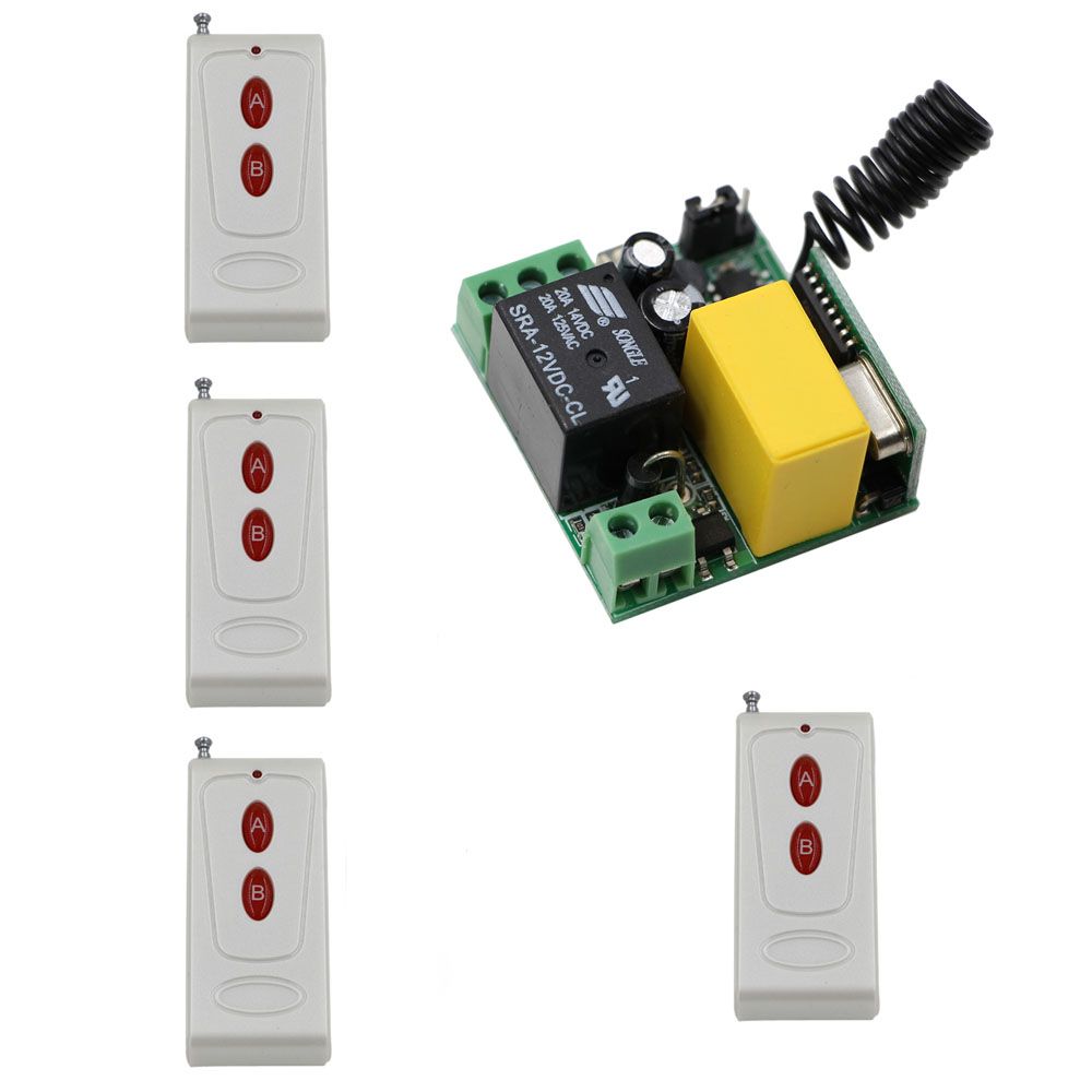 AC 220V 1CH RF Relay Wireless Remote Control Switch System Remote Receiver + 4Pcs A B Buttons Remote Controller 315Mhz/433Mhz ac 110v 220v wireless remote control switch 1ch 1 ch 10a relay receiver remote controller system 315mhz 433mhz