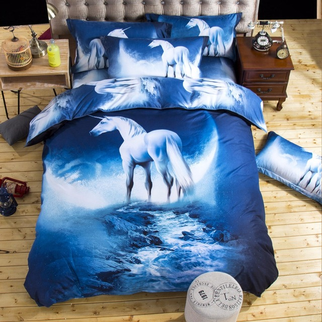 2017 New Bedding Sets Unicorn Universe Outer E Quilt Duvet Cover Bed Sheet Blue Galaxy