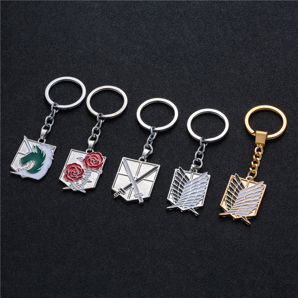 Anime keychain Attack on Titans badge pendant necklace Stainless steel key chain holder cover charms for motorcycle car keys