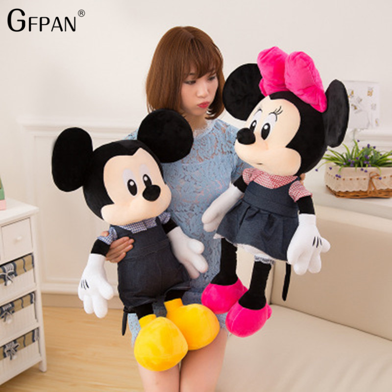 High Quality 80cm Adorable Stuffed Mickey Mouse& Minnie Mouse Soft Plush Toy Christmas Gifts Toys For Children Factory Price hot sale 60cm famous cartoon totoro plush toys smiling soft stuffed toys high quality dolls factory price in stock
