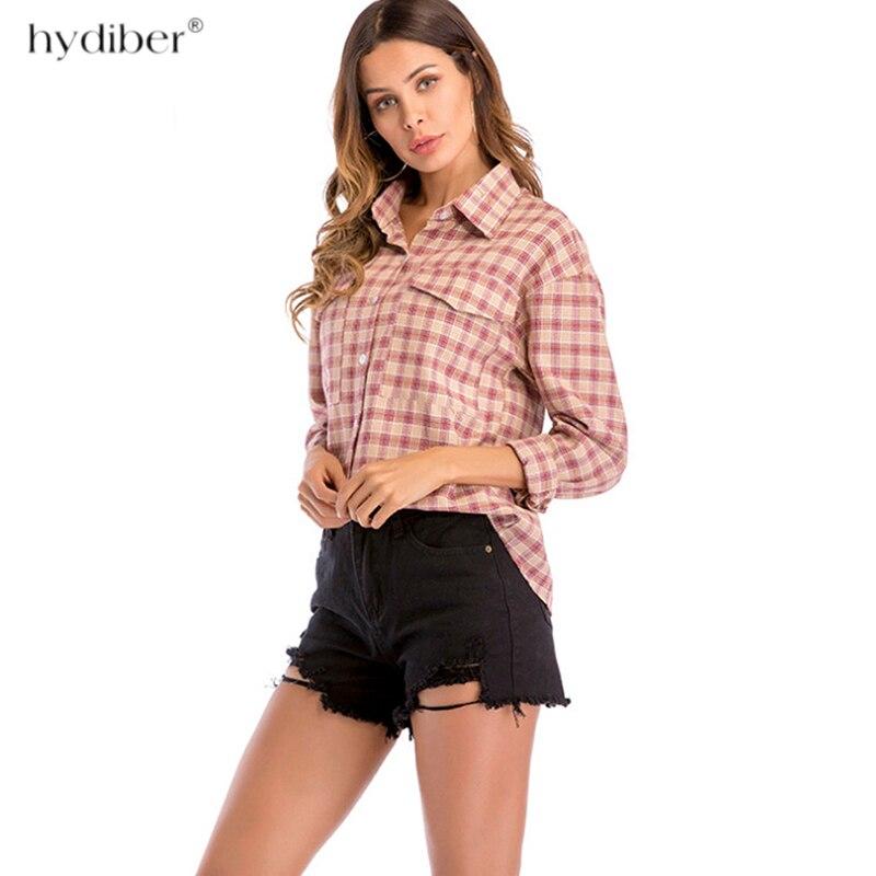 2018 mode Plaid chemise femme femmes Blouse à manches longues chemise coton Blusas travail dames hauts grande taille