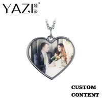 YAZI Trendy Frame Custom Photo Heart Necklace Engraved Name Image Lovers Necklace Gold Color Copper Personalized Memory Gifts