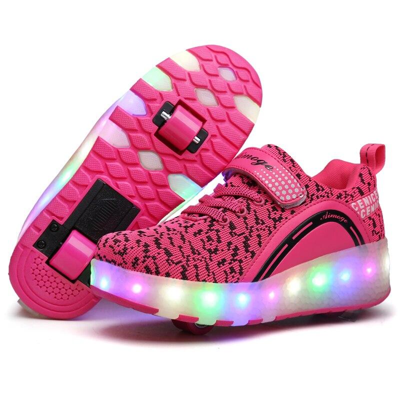 Светодиодный светильник Детские кроссовки с двумя колесами мальчик девочка два колеса роликовые коньки повседневная обувь с роликом детская спортивная обувь