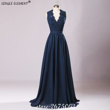 SINGLE ELEMENT Elegant V Neck Chiffon Navy Blue Long Bridesmaids Dresses Under 50