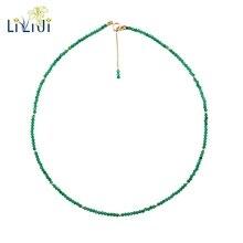 LiiJi ייחודי אמיתי ירוק אוניקס 2mm פיאות חרוזים זעירים 925 סטרלינג כסף צהוב זהב צבע קולר הניצוץ שרשרת