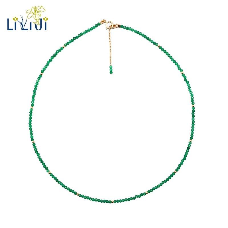 LiiJi Einzigartige Natürliche Grüne Onyx 2mm Facettiert Tiny Perlen 925 sterling silber Gelb Gold Farbe Halsband Glänzende Halskette