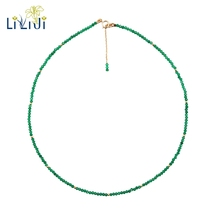 LiiJi Unique Real Green Onyx 2mm Faceted Tiny Beads 925 sterling silver Yellow Gold Color Choker Shining Necklace