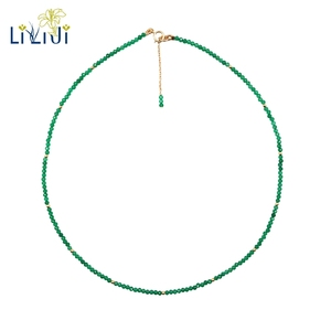 Image 1 - LiiJi Unique Real Green Onyx 2mm Faceted Tiny Beads 925 sterling silver Yellow Gold Color Choker Shining Necklace