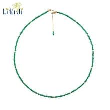 Liijiユニークな本物の緑オニキス2ミリメートルファセット小型ビーズ925スターリングシルバーイエローゴールド色チョーカーシャイニングネックレス