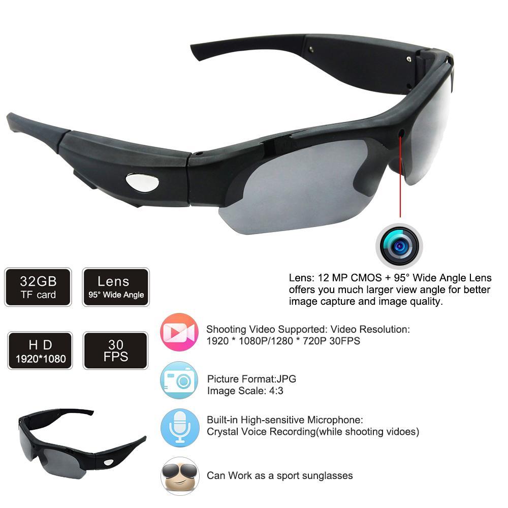 Soprt γυαλιά ηλίου φωτογραφικών μηχανών 1080P HD 95 βαθμών ... 94a546b1432
