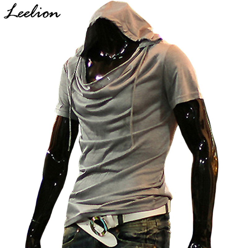 IceLion 2019 Summer Heap Collar   T     Shirt   Men Fashion Hooded   T  -  shirt   Hip Hop Streetwear Men's Short Sleeve Solid Fitness Tshirt