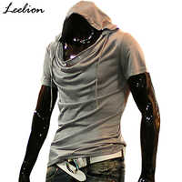 IceLion 2019 Summer Heap Collar T Shirt Men Fashion Hooded T-shirt Hip Hop Streetwear Men's Short Sleeve Solid Fitness Tshirt