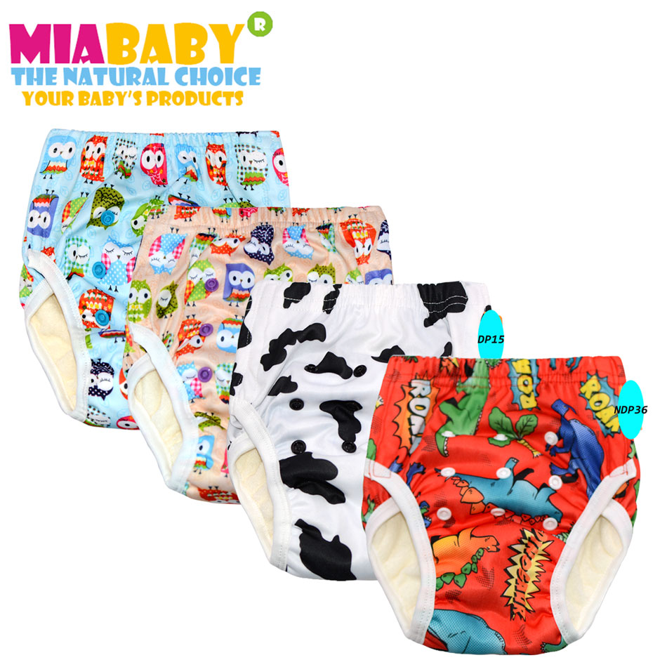 Miababy(3pcs/lot) Big Training Pants cloth diaper  for Toddler with sewn snaps,fit 2-5 years ,with bamboo terry inner insert