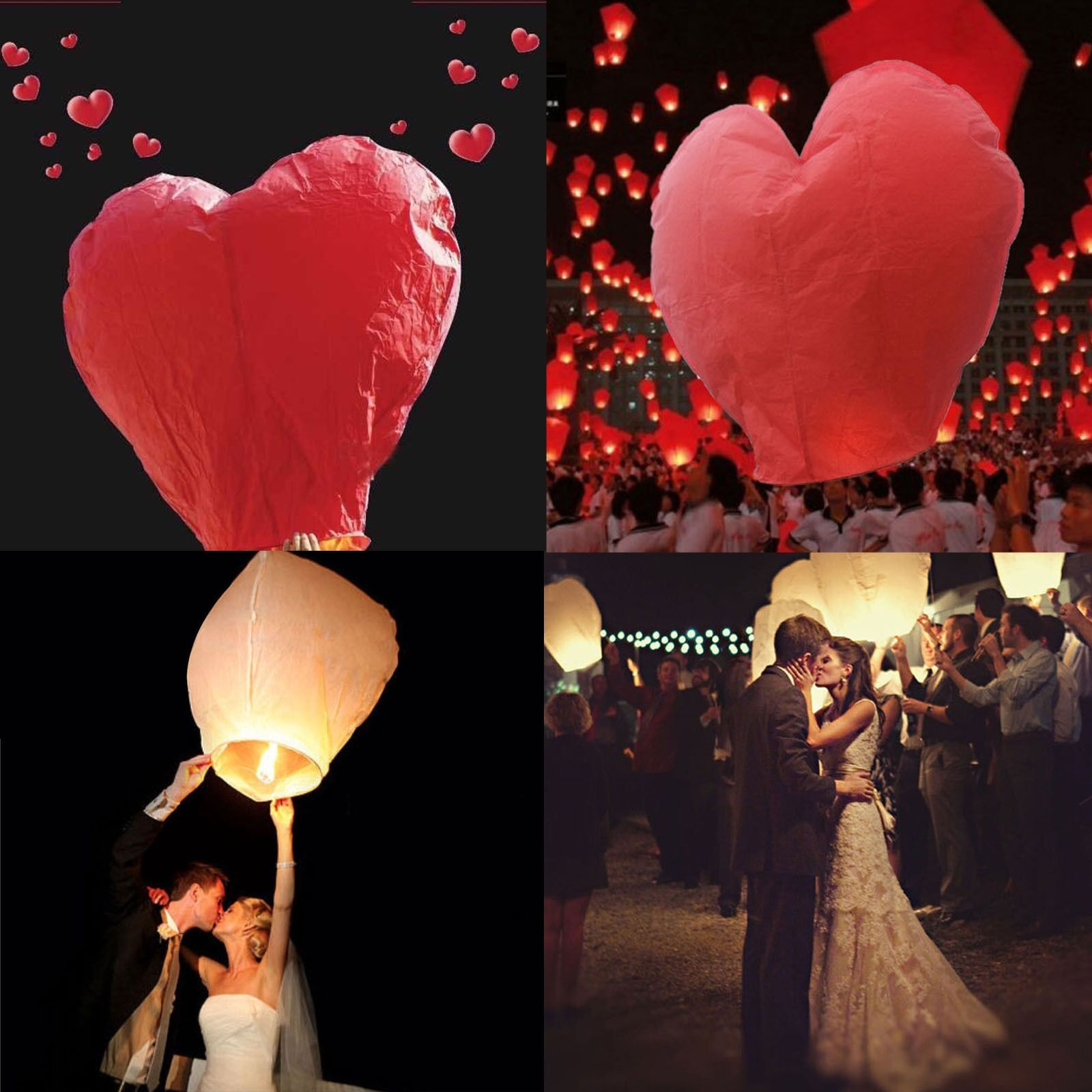 ChikeninPacket 10pcs White + 10pcs Heart Red Chinese Fire Flying Sky Paper Lanterns