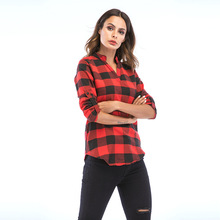 Women Plaid Long Sleeve Shirts Casual Plus Size V-neck Women Blouses Tops Office Lady Shirts Loose Lattice Blusa Feminina