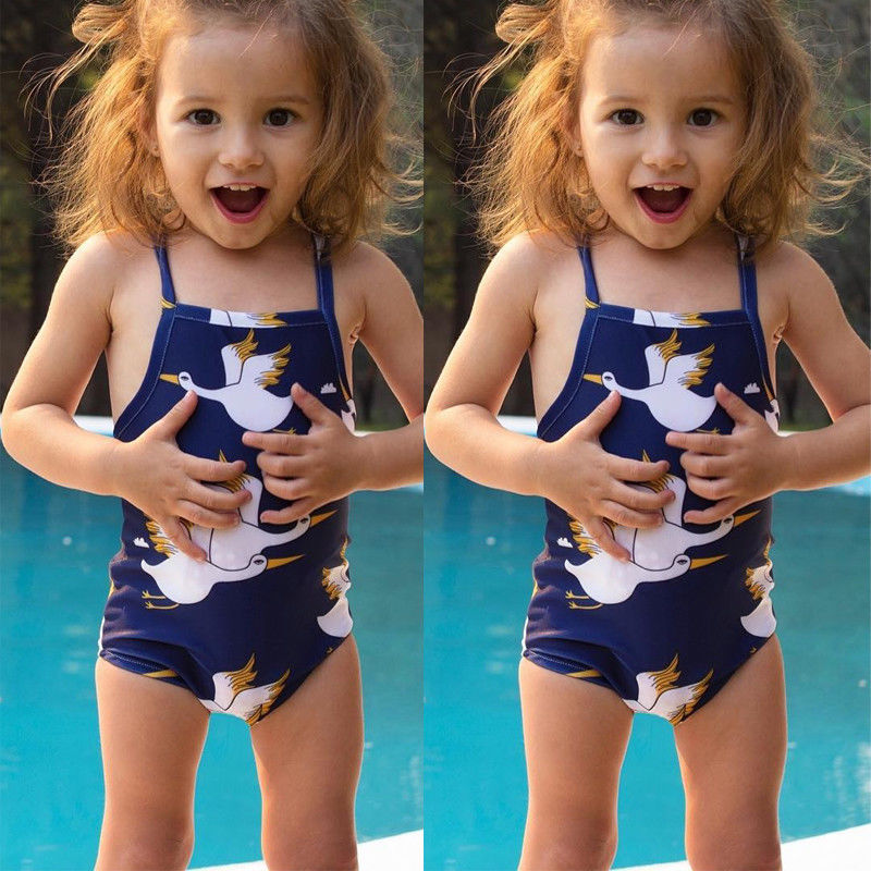 Infant Baby Kids Girls Cothes Cotton Sleeveless Cartoon Printed Swimsuit Outfit 2-6Years Helen115
