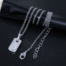 Cool Small Rectangle Pendant Necklace Cubic zirconia Statement Jewelry Silver plated Suspension Pendants for OL Ladies