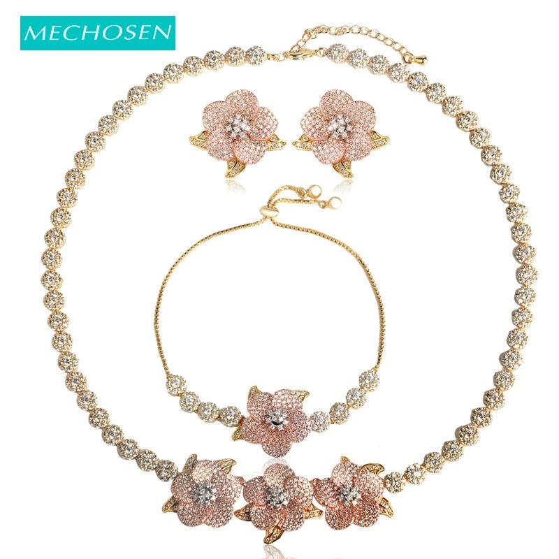 MECHOSEN Exquisite Pretty Flower Necklace Earrings Bracelet Jewelry Sets 3 Tones Brass Romantic Wedding Dress Sets Sieraden Aros