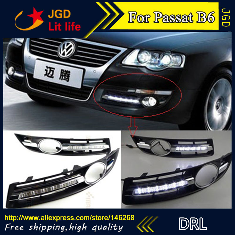 Free shipping ! 12V 6000k LED DRL Daytime running light for VW Volkswagen Passat B6 2007-2011 fog lamp frame Fog light car drl kit for volkswagen magotan 2007 2011 daytime running light bar daylight fog lamps bulbs for car 12v vw led drl