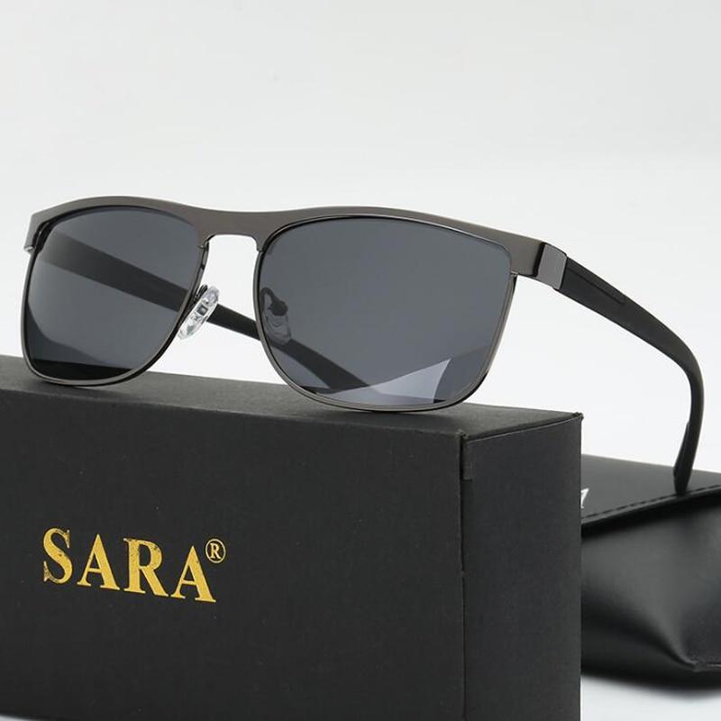 SARA Famosa Marca Homens Óculos de Sol Polarized 100% UV400 Óculos Óculos  Masculinos Condução Óculos 2d2144b78e