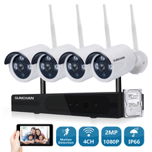 SUNCHAN 4 Channel 1080P(1920×1080) HD Wireless Video Security System(NVR Kits) 4PCS 2.0MP Wireless Waterproof Bullet IR Cameras