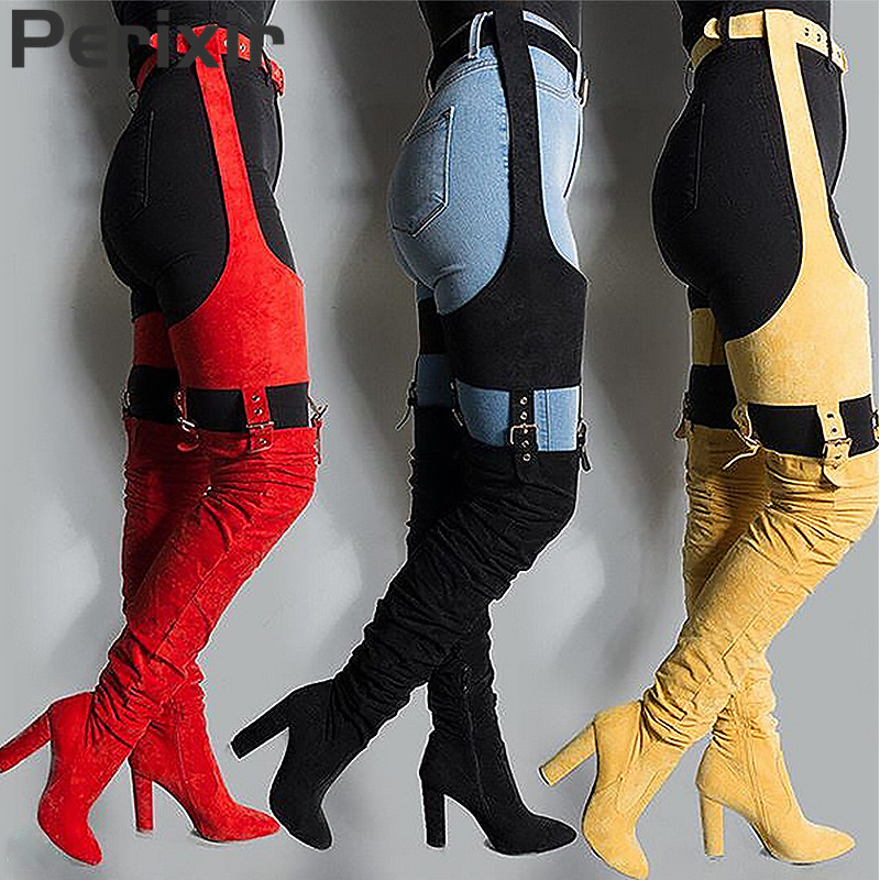 Perixir Rihanna Flock High Boots Winter Over Knee Fashion Heeled Boots Strap Solid Pointed Toe Square