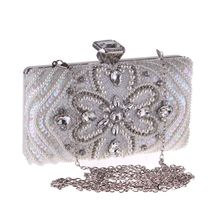 New Fashion Evening Clutch For Women Lady Beading Crystal Handbag Pouch Casual Flap Shoulder Bag Crossbody Messenger Metal Chain metal ring detail flap pouch bag