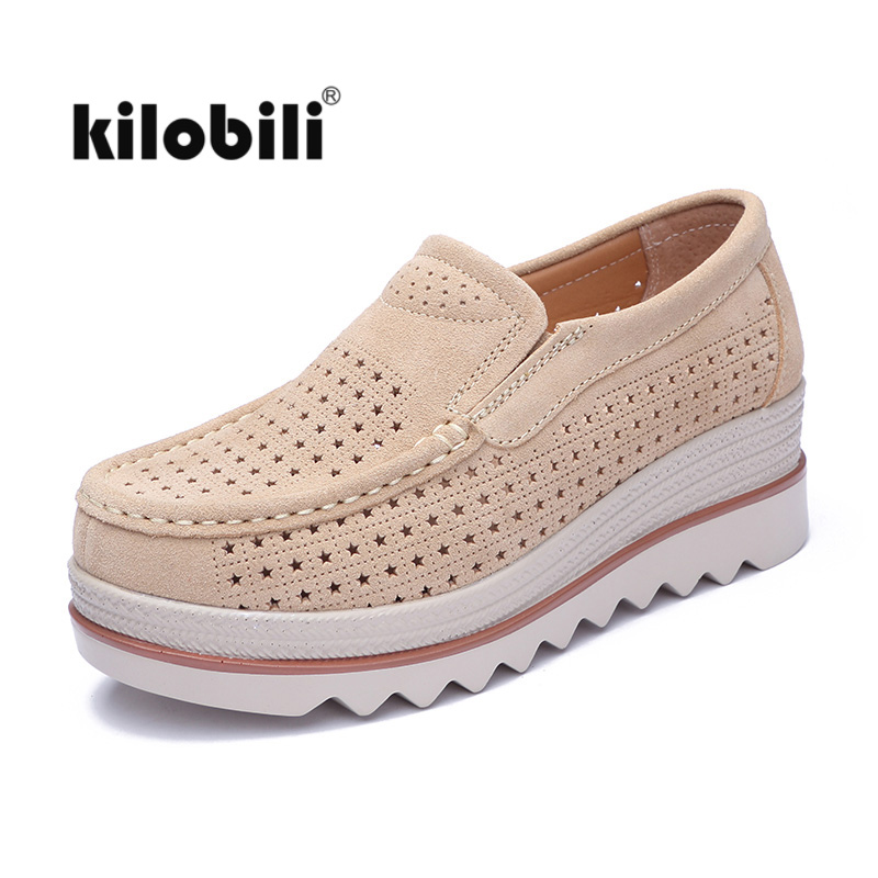 kilobili Summer Women Flats Shoes Cutout   Suede     Leather   Slip on Loafers Flat Platform Moccains boat shoes ladies Thick creepers