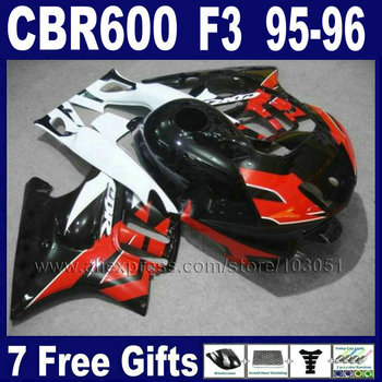 7gifts Custom motorcycle fairings kit for Honda CBR600 F3 1995 1996 CBR 600 F3 CBR600F3 96 95 red white fairing kits & tank cove