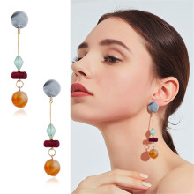 CRLEY Acrylic Geometric Round Dangle Long Earrings Ethnic Drop Earring Wedding Bridal Statement Jewelry for Teens Girls