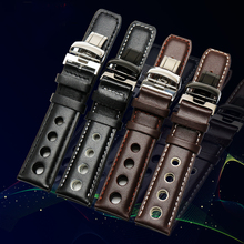 Laopijiang genuine Leather Strap For Sports Racing Series PRS516 T91 1853 Watch 20mm Black Orange Line with steel folding buckle стоимость
