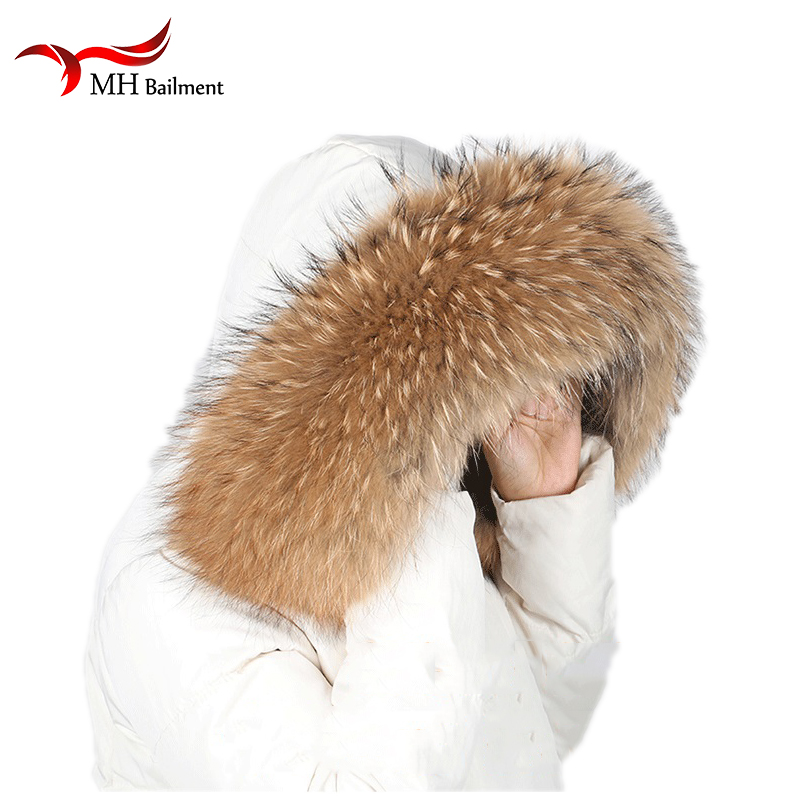 100% Natural Jacke Fur Collar and POMPOM Real Raccoon Fur Women Scarves Winter Coat Female Neck Cap WarMm Scarf 70*16cm