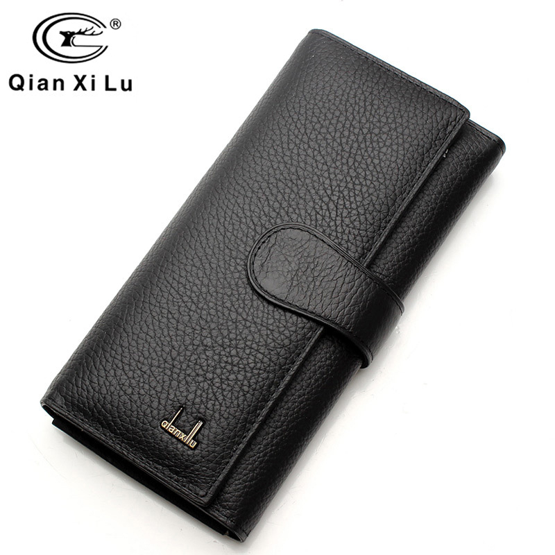 Women Long Wallet  Fashion Solid Female Purse Phone Coin Pocket Brand Designer Clutch Wallets Genuine Leather Ladies Card Holder bemoreal genuine leather women wallets lady clutches card holder female zipper wallet fashion brand coin keeper sweet long purse