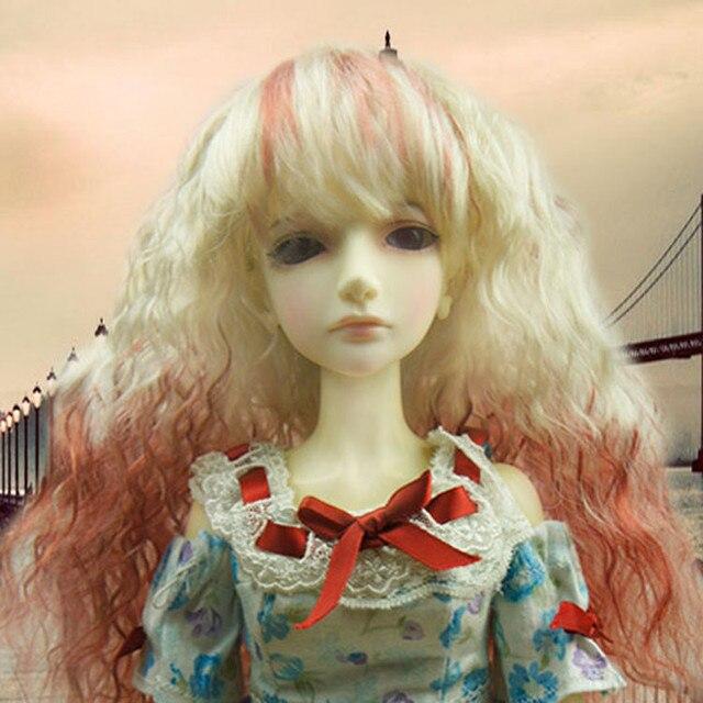 Длинные вьющиеся парики с полной челкой модные синтетический мохер кукла головные уборы высокого Tempreture проволоки волос горячая распродажа 093