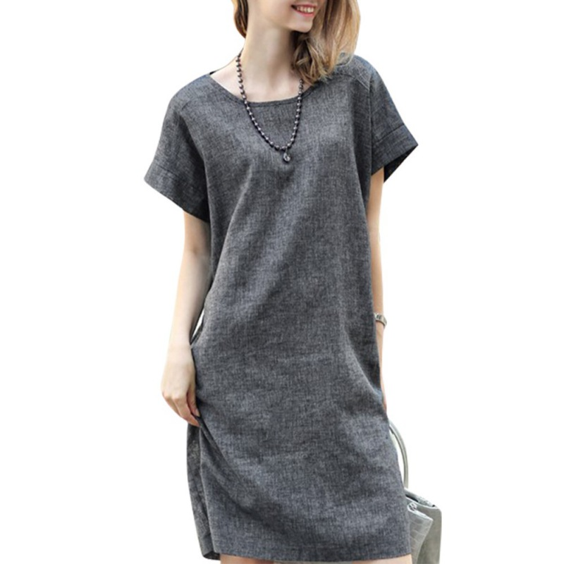 New arrival2016 Women Casual Cotton Linen Loose Dress Solid Summer Short Sleeve Dress