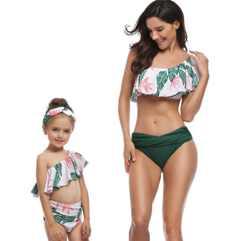 Mother Daughter Swimsuits Flower Mommy And Me Swimwear Bikini Family Matching