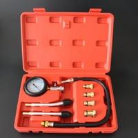 Hot 9pcs Petrol Gas Engine Cylinder Compressor Gauge Meter Test Pressure Compression Tester Leakage Diagnostic Tool
