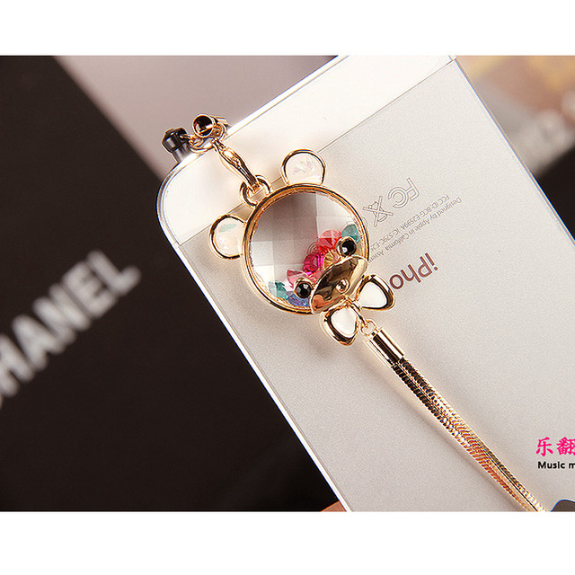 Colorful crystal bear 5iphone4s  for apple   mobile phone dust plug fox fur ball
