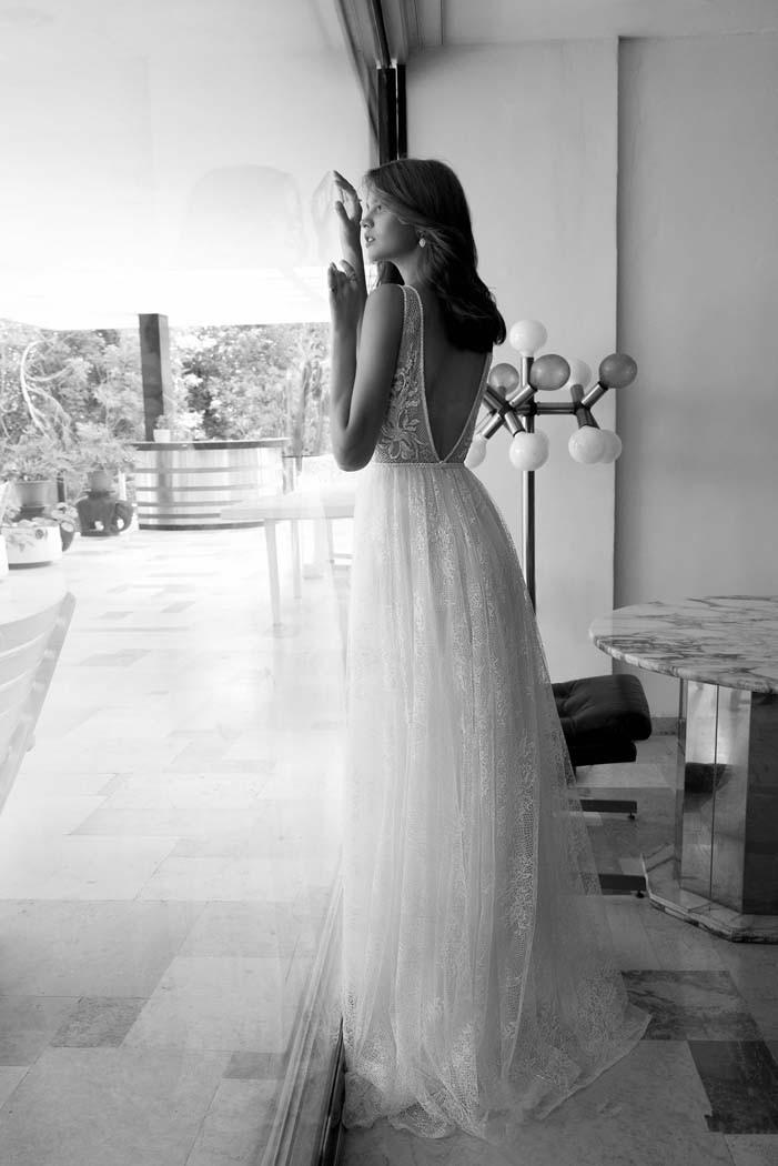 Deep V-Neck Unique Lace Beaded A-Line Boho Wedding Dress 2
