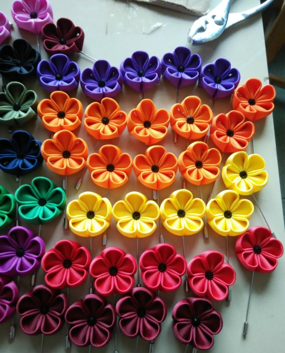 Handmade Kanzashi Flowers Diy Lapel Flower Stick Pins Red Orange