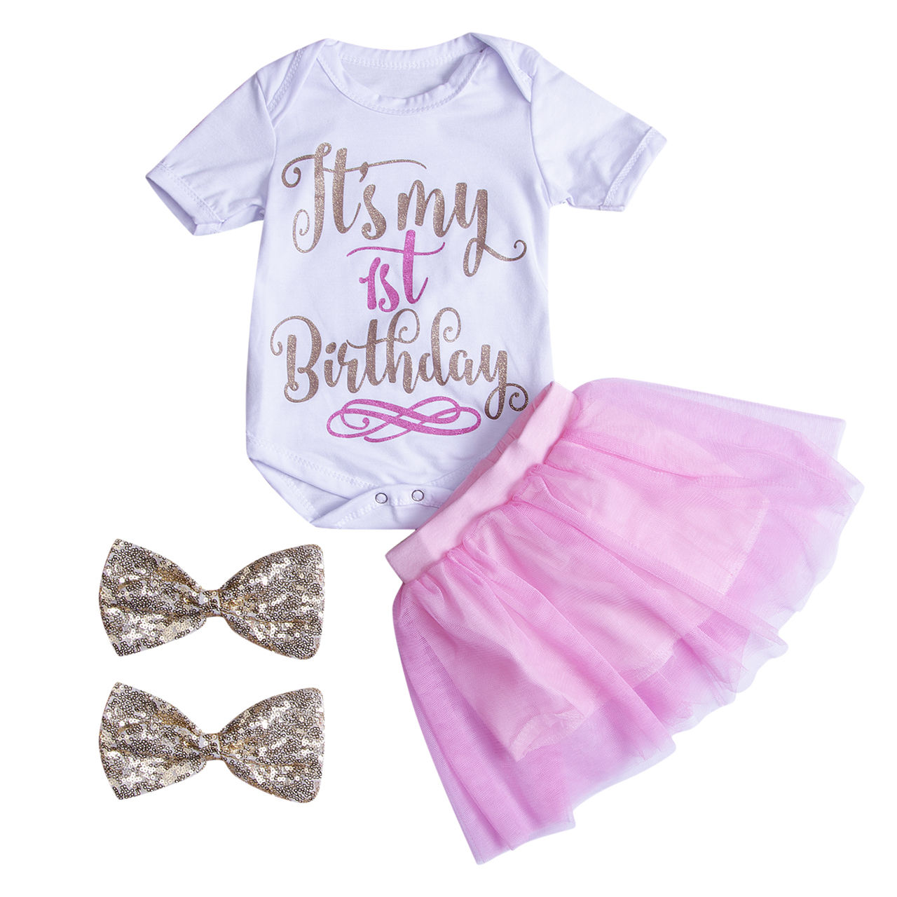 4PCS Baby Kids Girls TOP SALE Outfits Clothes Letter Short Sleeve+Solid Skirt+Double Hairband Summer 0-24M