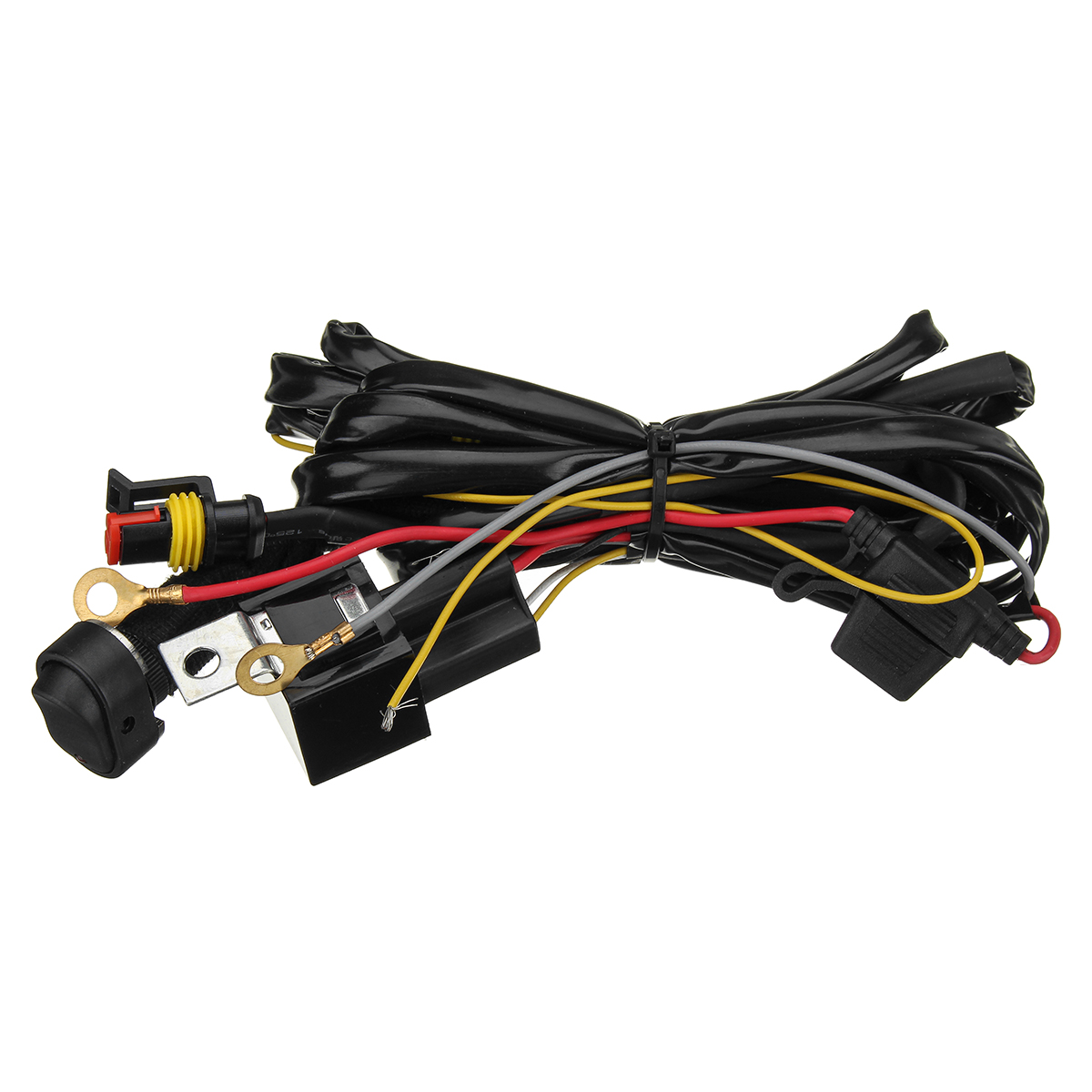 small resolution of 10 30v universal motorcycle led headlights auxiliary lamp fog light driving lamps wiring harness for